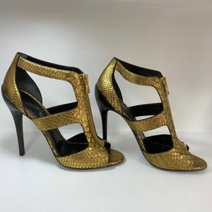 Tom Ford gold python skin heels